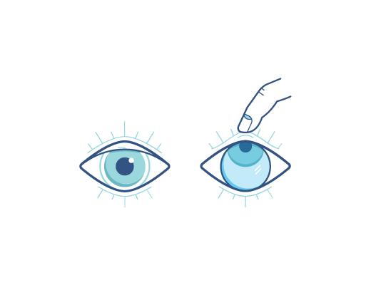 Ojo mirando hacia arriba con el dedo sacando los lentes de contactos