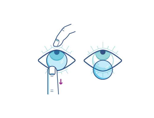 Retire sus lentes contactos usando su dedo índice en el borde inferior de la lente