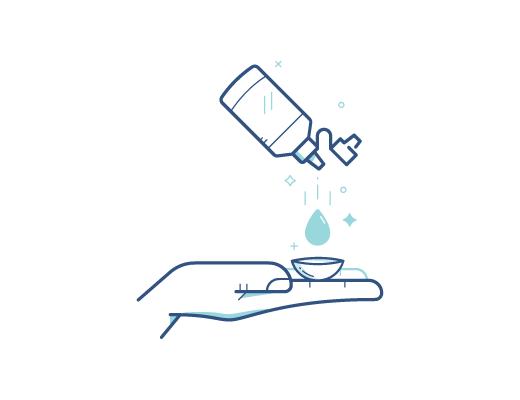 Desinfectarel el lente de contacto con la solución de contactos