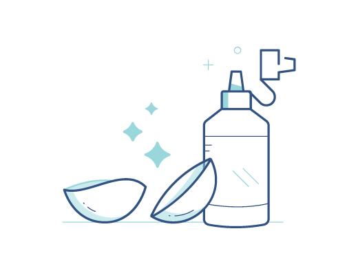 Lentes de contacto con solución de limpieza